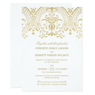 GoldVintager Glamour der Hochzeits-Einladungs-| Karte