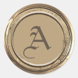 Goldwachs-Siegel-Monogramm Runder Aufkleber