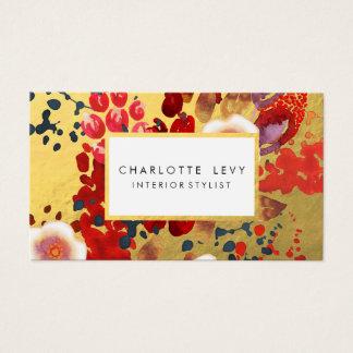 Goldwatercolor-abstrakter Blumenkunst-Stylist Visitenkarten