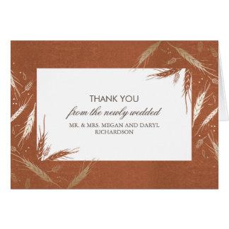 Goldweizen-Fall-orange Hochzeit danken Ihnen Mitteilungskarte