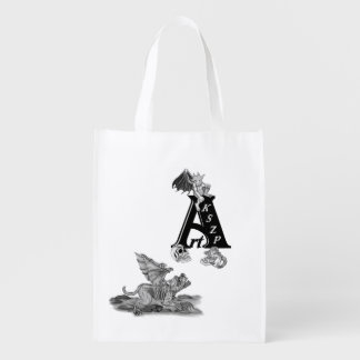 Golem-Wasserspeier und ArtKSZP Logo Wiederverwendbare Einkaufstasche