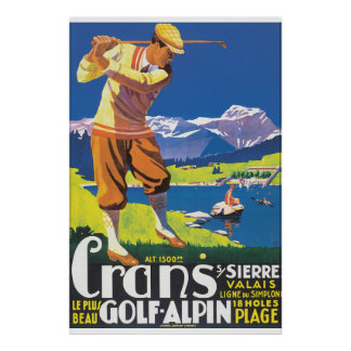 Golf Alpin Vintages Reise-Plakat Poster