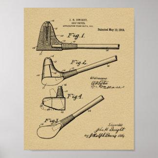 Golfclub-Fahrer-Geschmacksmuster-Kunst-Druck 1914 Poster