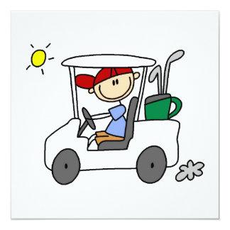 Golfspieler im Golfmobil Quadratische 13,3 Cm Einladungskarte