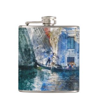 Gondel im Canal Grande von Venedig Italien Flachmann