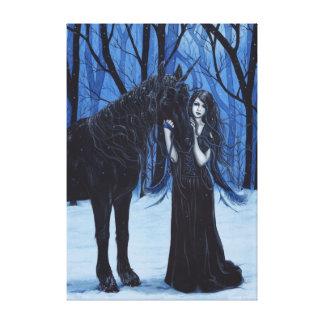 Gotische Fee und schwarzer Unicorn-Leinwand-Druck Gespannte Galerie Drucke