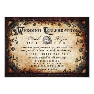 Gotische Halloween Wedding Skelette Browns laden 12,7 X 17,8 Cm Einladungskarte