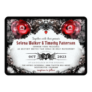 Gotische Rote Rose Und Spinnen Halloween Hochzeit Einladung