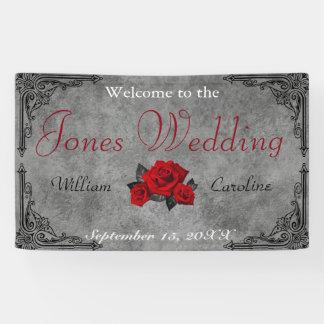 Gotische Schwarzweiss-Rosen-Hochzeits-Fahne Banner