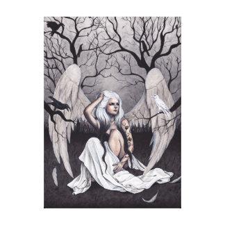 Gotischer Engels-Schwarz-weißer Leinwanddruck