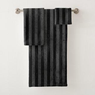 Gotischer Grungy schwarzer Streifen Badhandtuch Set