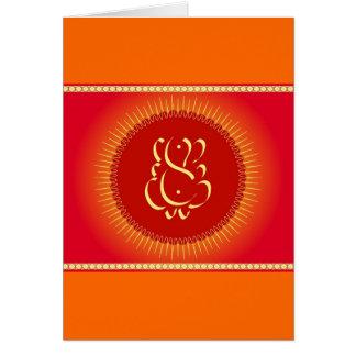 Gott Ganesha mit Sonnestrahlen Karte