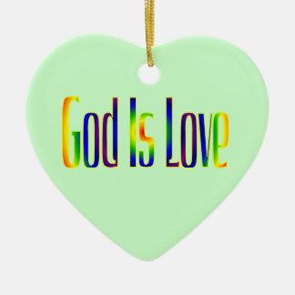 Gott ist Liebe Keramik Herz-Ornament