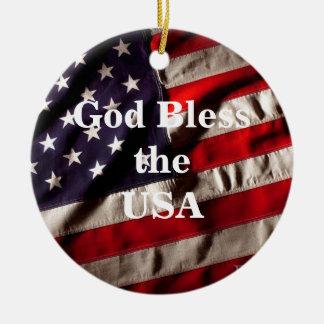 Gott segnen die runde USA-amerikanische Flagge - Keramik Ornament