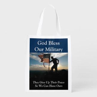 Gott segnen unsere militärische wiederverwendbare wiederverwendbare einkaufstasche