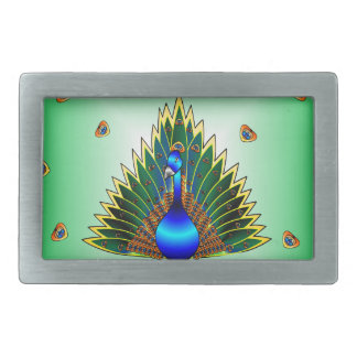 Grafischer Pfau-Entwurf mit blaugrünem Hintergrund Rechteckige Gürtelschnalle