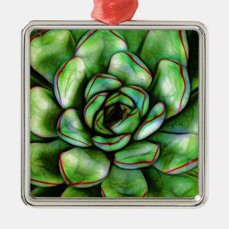 Grafischer Succulent Quadratisches Silberfarbenes Ornament