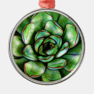Grafischer Succulent Rundes Silberfarbenes Ornament