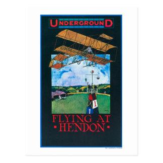 Grahame-Weiß und Flugzeug über Flughafen-Plakat Postkarte