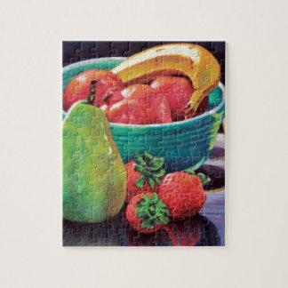 Granatapfel-Bananen-Beeren-Birnen-Reflexion Puzzle