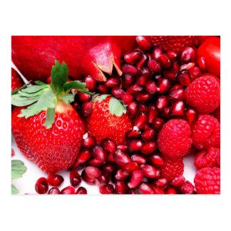 Granatapfel-Erdbeeren und Himbeeren Postkarte