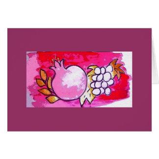 Granatapfel und Trauben-Gruß-/Anmerkungskarte Grußkarte