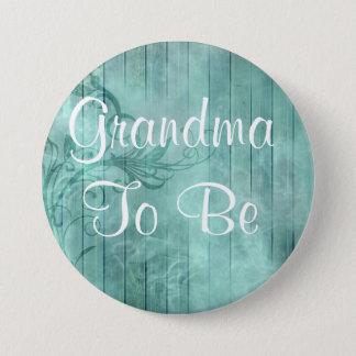 Grandm, zum rustikaler hölzerner Babyparty-mit Runder Button 7,6 Cm