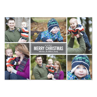 Grau der Foto-Collagen-Weihnachtsgruß-Karten-| 12,7 X 17,8 Cm Einladungskarte