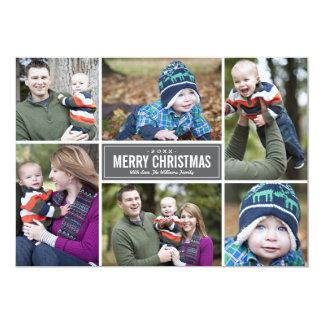 Grau der Foto-Collagen-Weihnachtsgruß-Karten-  12,7 X 17,8 Cm Einladungskarte