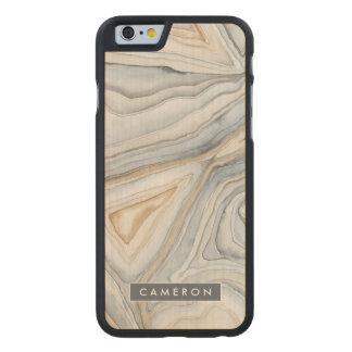 Grau gemarmorter abstrakter Entwurf Carved® iPhone 6 Hülle Ahorn