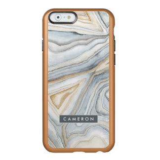 Grau gemarmorter abstrakter Entwurf Incipio Feather® Shine iPhone 6 Hülle