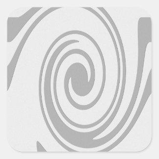 Grau-gewundenes Muster-Fließen von links nach Quadrat-Aufkleber