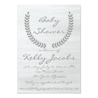 Graue Aquarell-Babyparty-Einladung Karte