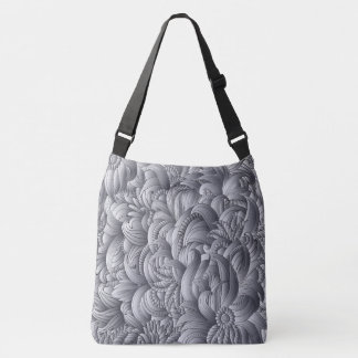 Graue Blumen-Muster Crossbody Tasche