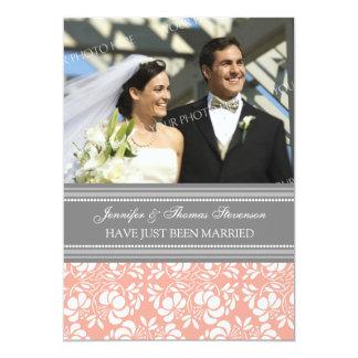 Graue Damast-Foto-gerade verheiratete 12,7 X 17,8 Cm Einladungskarte