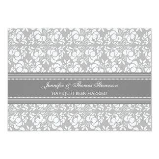 Graue Damast-gerade verheiratete 12,7 X 17,8 Cm Einladungskarte