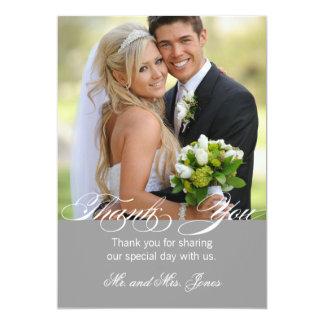 Graue einfache Foto-Hochzeit danken Ihnen zu 12,7 X 17,8 Cm Einladungskarte