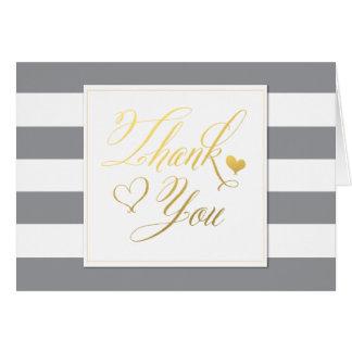 Graue gestreifte Dusche mit Gold danken Ihnen Karte