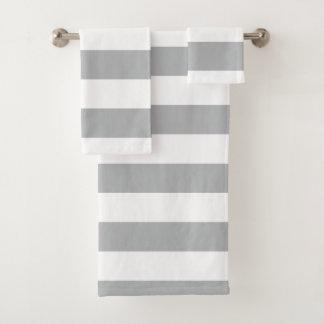 Graue horizontale Streifen Badhandtuch Set