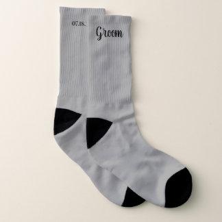 Graue personalisierte Bräutigam-Hochzeit Socken