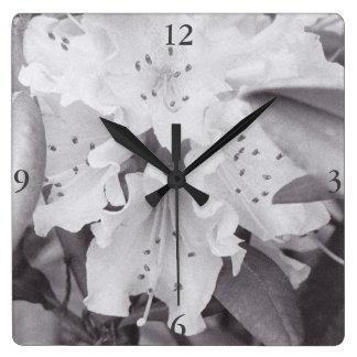 Graue quadratische mit Blumenuhr Quadratische Wanduhr