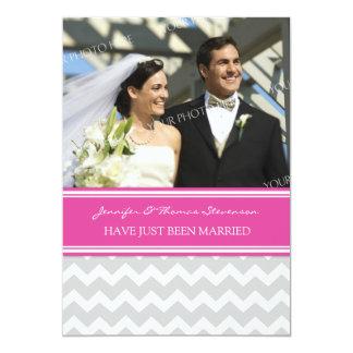 Graue rosa Zickzack Foto-gerade verheiratete 12,7 X 17,8 Cm Einladungskarte