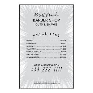 Graue Spritzen-Hintergrund-Friseur-Preisliste Flyer