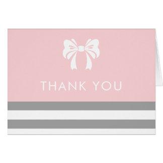 Graue Streifen mit weißer Bogen-Babyparty danken Mitteilungskarte