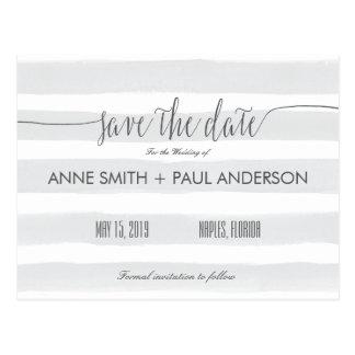 Graue Streifen Save the Date Postkarten