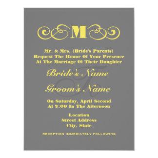 Graue u. gelbe Monogramm-Hochzeit laden ein 10,8 X 14 Cm Einladungskarte