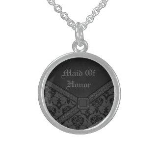 Graue u. schwarze Goth Spitze-Hochzeit Sterling Silberkette
