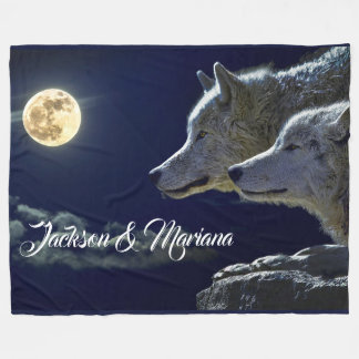 Graue Wölfe unter einem Vollmond Fleecedecke