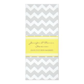Graue Zitronen-Zickzack gerade verheiratete 10,2 X 23,5 Cm Einladungskarte