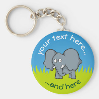 Grauer Elefant-Cartoon Standard Runder Schlüsselanhänger